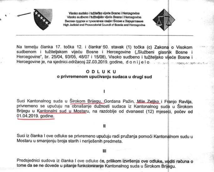 odluka%20vstv - Samo u BiH: Isti suci sude na dva različita suda?!