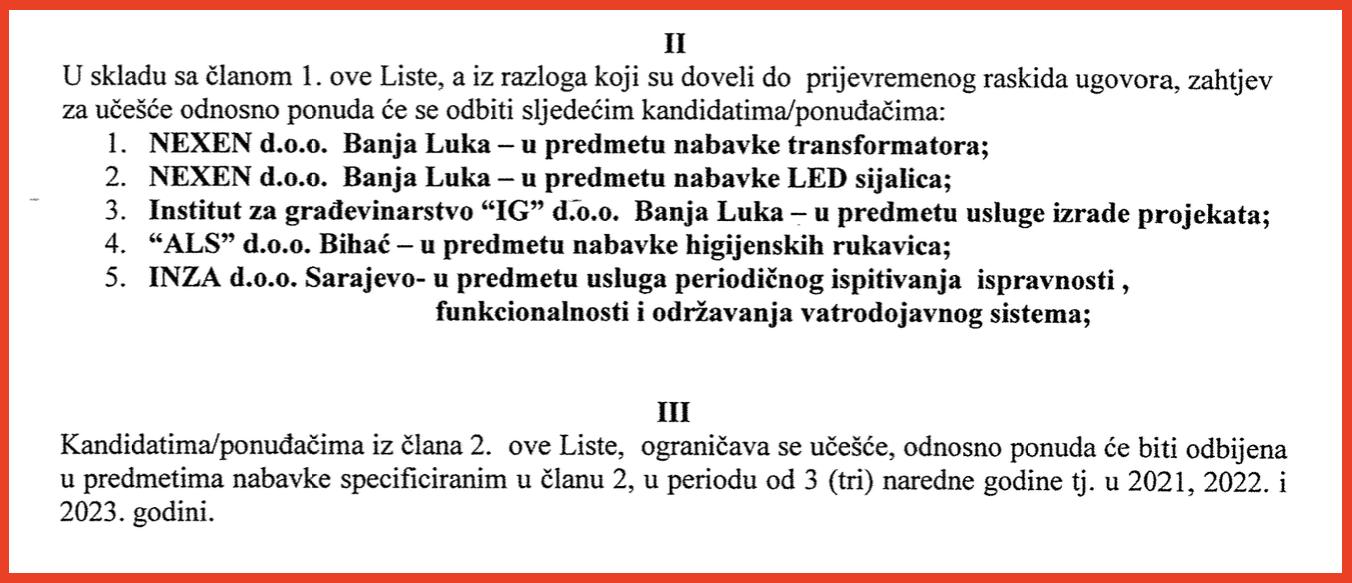 Elektroprivreda BiH lista ponudjaca