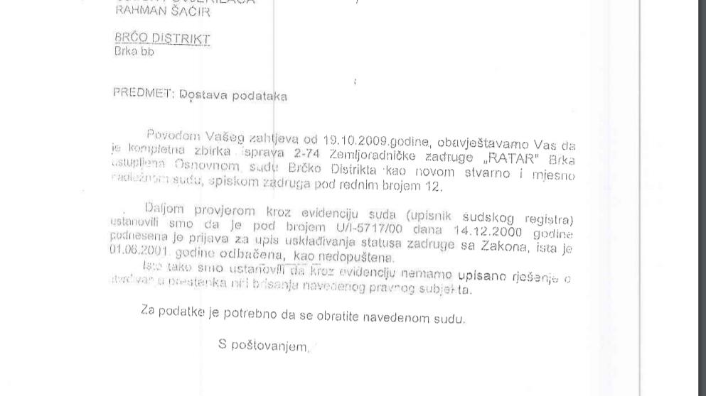 Odgovor Opcinskog suda iz 2009- Ratar
