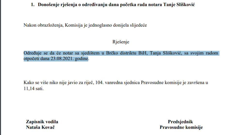 Pravosudna komisija Tanja Sliskovic