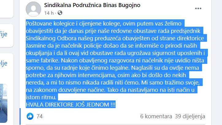 poruka sa FB Binas